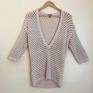 Ann Taylor Cotton Woven Knit V Neck Sweater